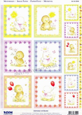 Ducklings & Chicks With Spring Flowers Die Cut 3d Decoupage 2 Sheets From Reddy Creative Cards